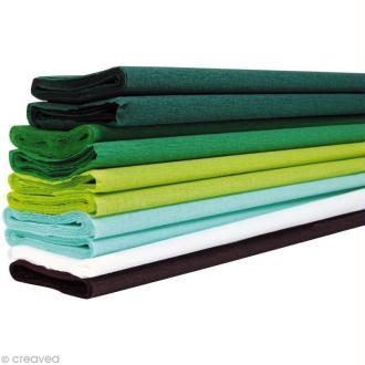 Assortiment papier crépon - Vert x 10