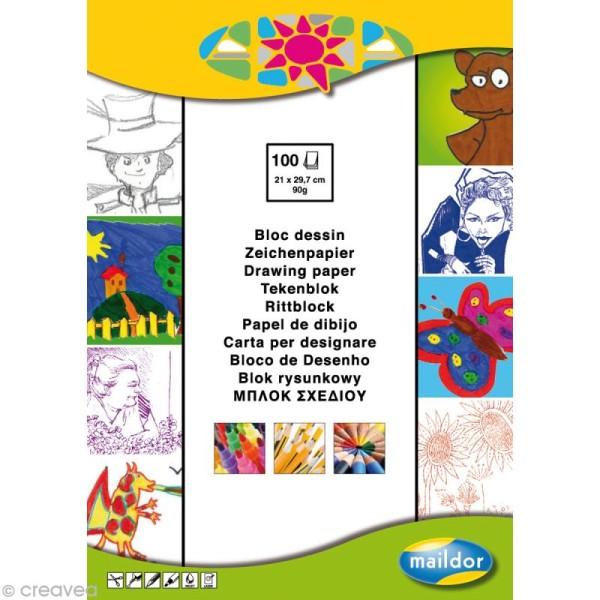 Bloc papier dessin économique blanc A4 x 100 feuilles - Photo n°1