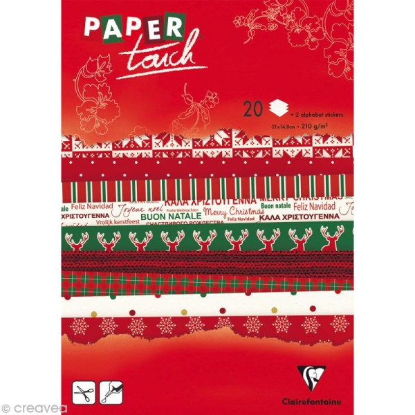 Papier scrap Clairefontaine - Bloc A5 Paper Touch Noël x 20 - Photo n°1