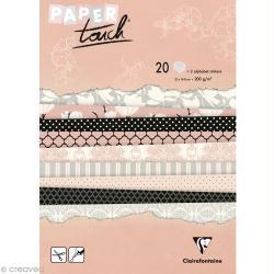 Papier scrap Clairefontaine - Bloc A5 Paper Touch Magnolias x 20