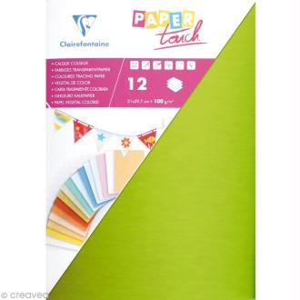 Papier calque couleur Paper Touch A4 Assortiment x 12 feuilles unies