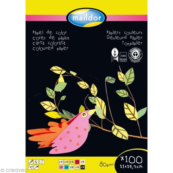 Bloc papier économique couleur A4 x 100 feuilles - 80 gr - Photo n°1