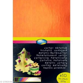 Papier métallisé 35 x 50 cm - Assortiment x 10
