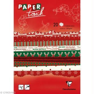 Papier scrap Clairefontaine - Bloc A4 Paper Touch Noël x 20
