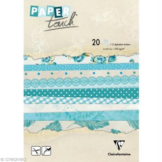 Papier scrap Clairefontaine - Bloc A4 Paper Touch Fleurs bleues x 20