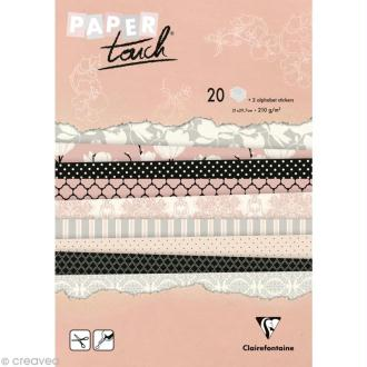 Papier scrap Clairefontaine - Bloc A4 Paper Touch Magnolias x 20
