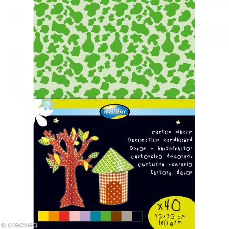 Carton décor 25 x 35 cm - Assortiment x 40 feuilles - Maildor