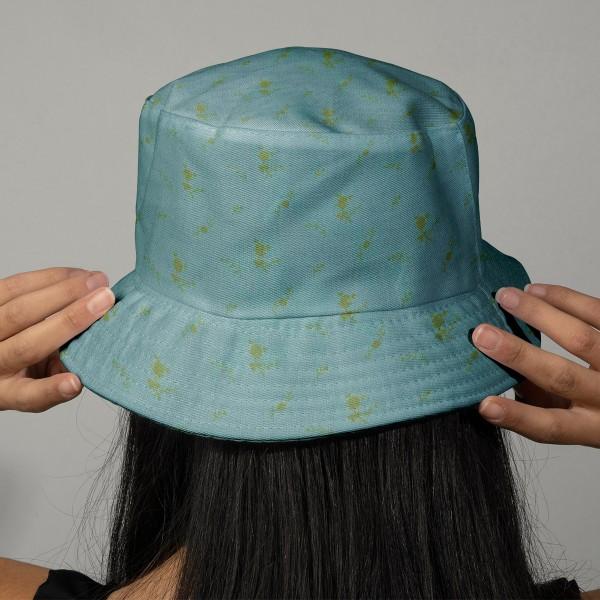 Tissu double gaze de coton - Fleurs dorées sur Fond vert de gris - Par 10 cm (sur mesure) - Photo n°2