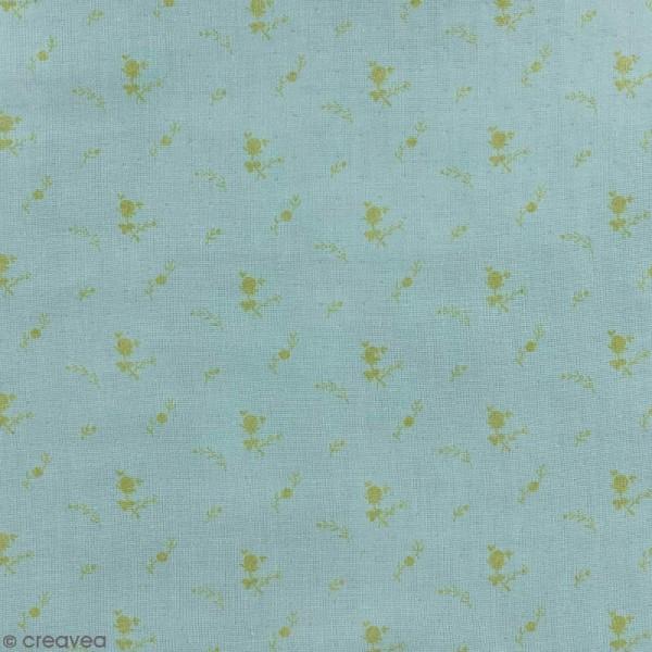 Tissu double gaze de coton - Fleurs dorées sur Fond vert de gris - Par 10 cm (sur mesure) - Photo n°1