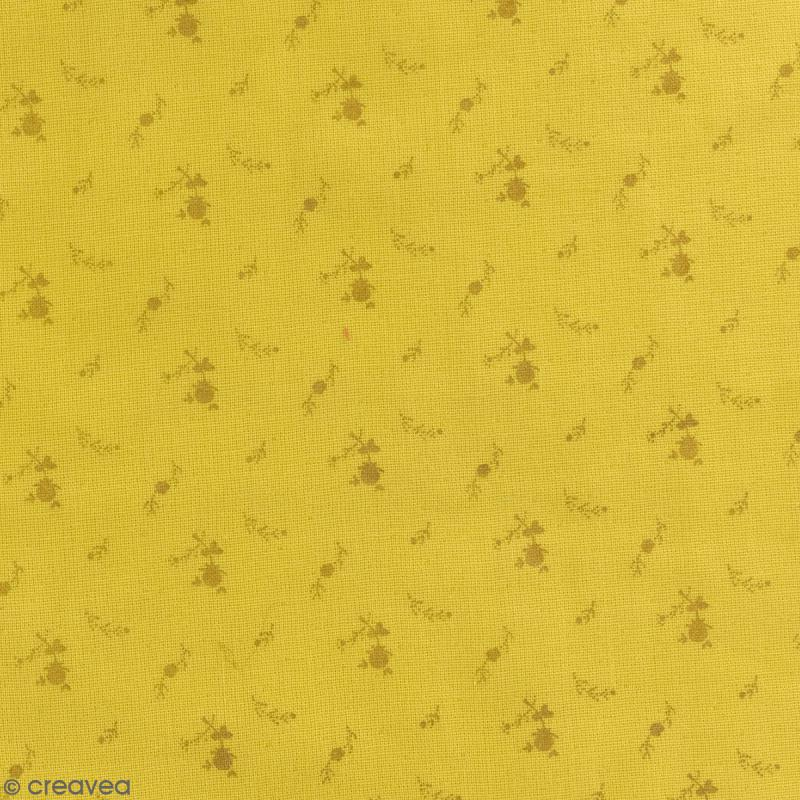 tissu double gaze de coton fleurs dor es sur fond jaune curry par 10 cm sur mesure tissu. Black Bedroom Furniture Sets. Home Design Ideas