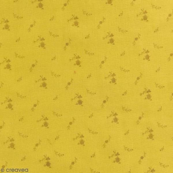 Tissu double gaze de coton - Fleurs dorées sur Fond jaune curry - Par 10 cm (sur mesure) - Photo n°1