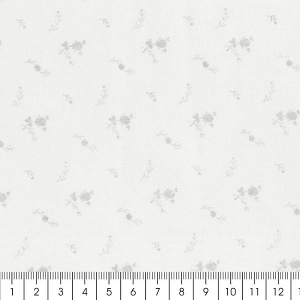 Tissu double gaze de coton - Fleurs argentées sur Fond blanc - Par 10 cm (sur mesure) - Photo n°2