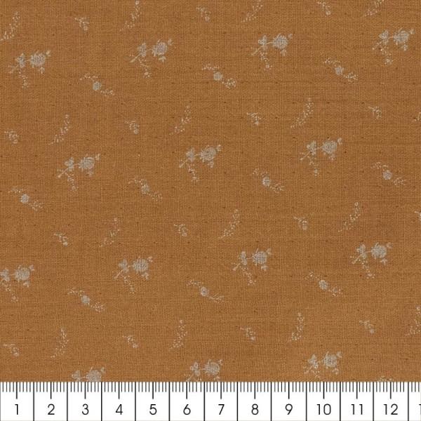 Tissu double gaze de coton - Fleurs argentées sur Fond camel - Par 10 cm (sur mesure) - Photo n°2