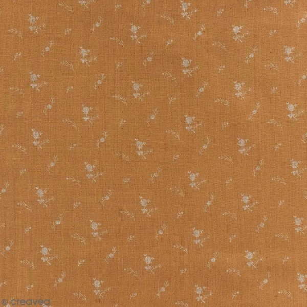 Tissu double gaze de coton - Fleurs argentées sur Fond camel - Par 10 cm (sur mesure) - Photo n°1