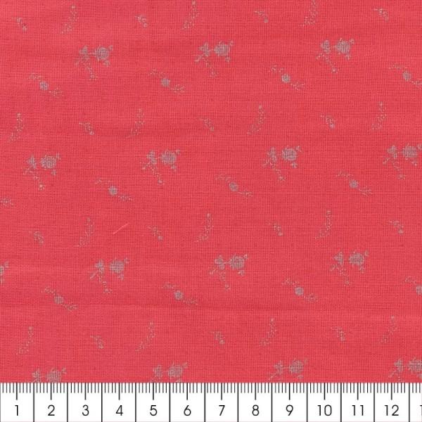 Tissu double gaze de coton - Fleurs argentées sur Fond rouge framboise - Par 10 cm (sur mesure) - Photo n°2