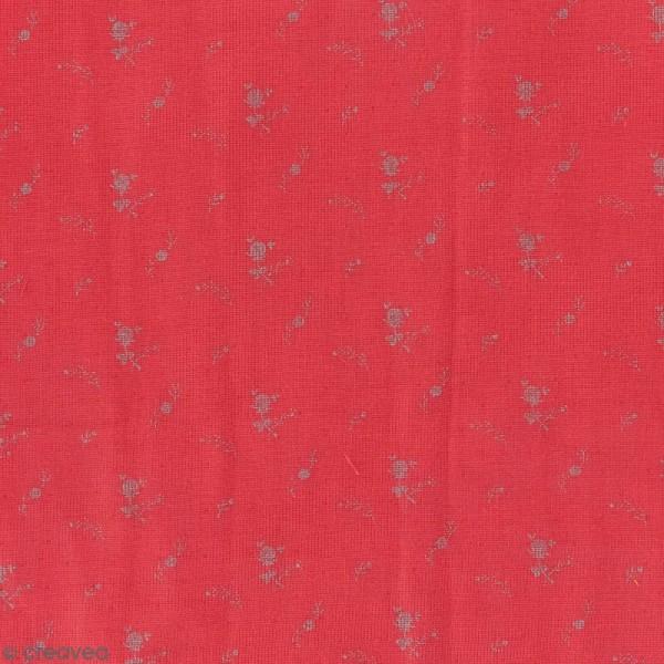 Tissu double gaze de coton - Fleurs argentées sur Fond rouge framboise - Par 10 cm (sur mesure) - Photo n°1