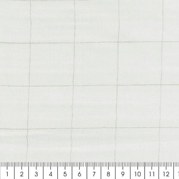 Tissu double gaze de coton - carreaux argentés sur Fond blanc - Par 10 cm (sur mesure) - Photo n°2