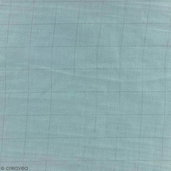 Tissu double gaze de coton - carreaux argentés sur Fond vert de gris - Par 10 cm (sur mesure) - Photo n°1
