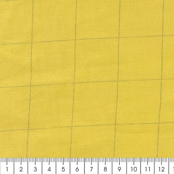 Tissu double gaze de coton - carreaux argentés sur Fond jaune curry - Par 10 cm (sur mesure) - Photo n°2