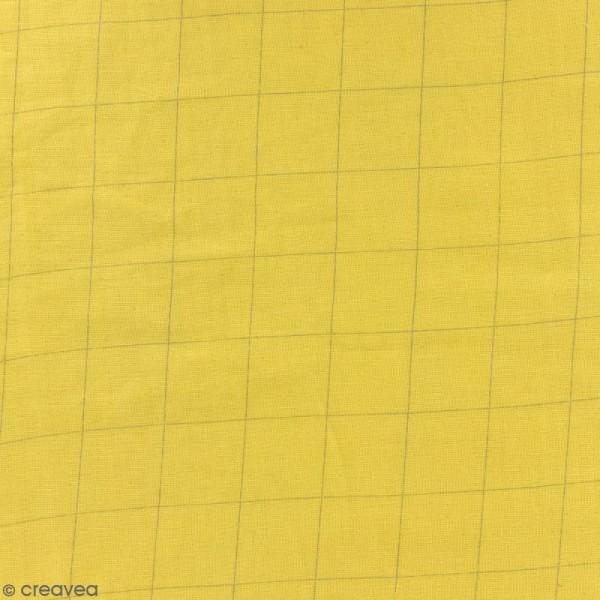 Tissu double gaze de coton - carreaux argentés sur Fond jaune curry - Par 10 cm (sur mesure) - Photo n°1