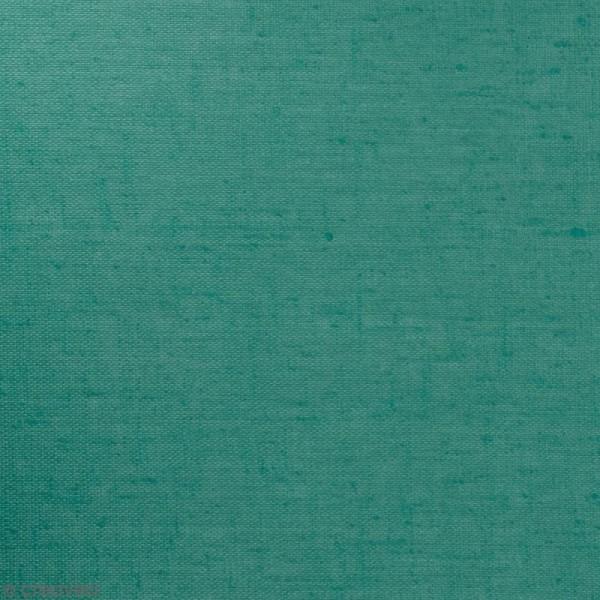 Tissu Lin enduit - Bleu turquoise - Par 10 cm (sur mesure) - Photo n°1
