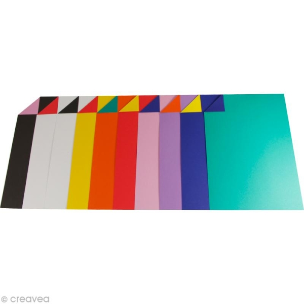 Papier Cartoline bicolore A4 - Assortiment x 100 - Photo n°1