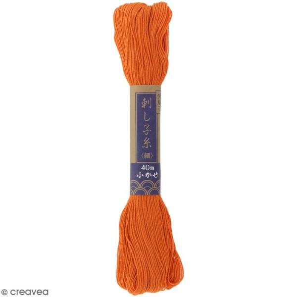 Fil à Sashiko uni - Orange - 40 m - Photo n°1