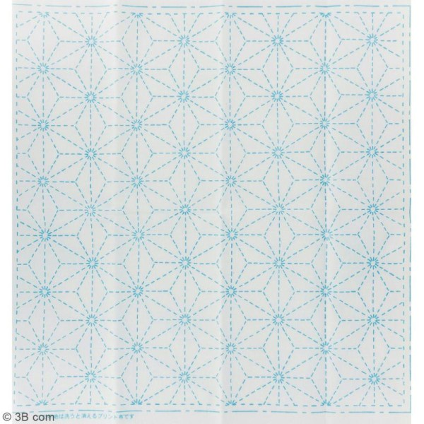 Coupon de tissu Blanc Sashiko pré-imprimé - Asanoha (feuille de lin) - 31 x 31 cm - Photo n°2