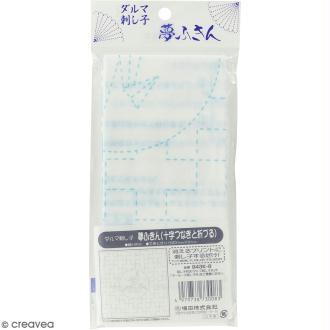 Coupon de tissu Blanc Sashiko pré-imprimé - Jujitsunagi (croix répétées) et origami - 31 x 31 cm