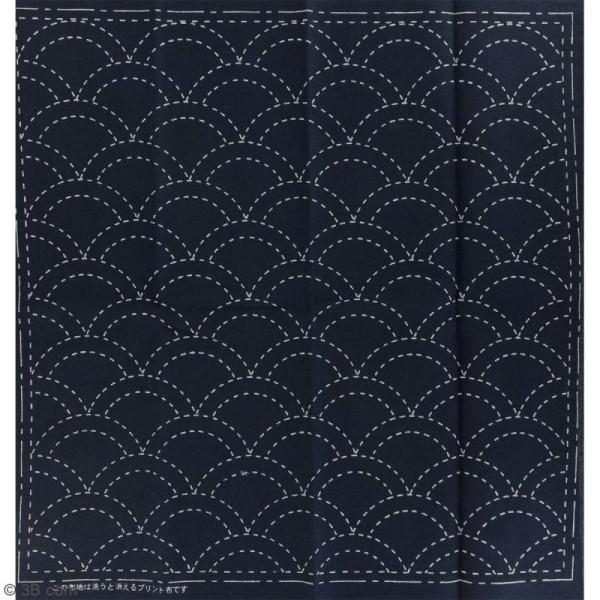 Coupon de tissu Bleu Sashiko pré-imprimé - Seikaiha (vague) - 31 x 31 cm - Photo n°2