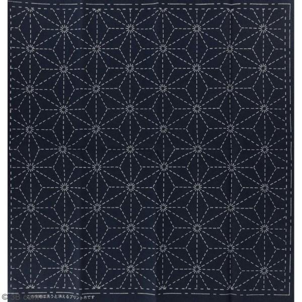 Coupon de tissu Bleu Sashiko pré-imprimé - Asanoha (feuille de lin) - 31 x 31 cm - Photo n°2