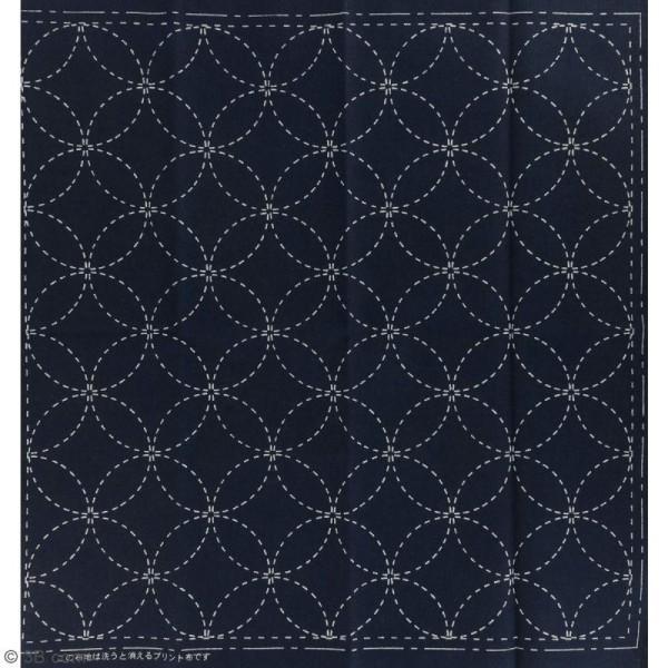 Coupon de tissu Bleu Sashiko pré-imprimé - Shippo ( 7 trésors) - 31 x 31 cm - Photo n°2