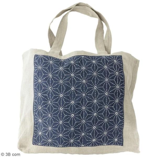 Coupon de tissu Bleu Sashiko pré-imprimé - Asanoha (feuille de lin) coin fleur - 31 x 31 cm - Photo n°3