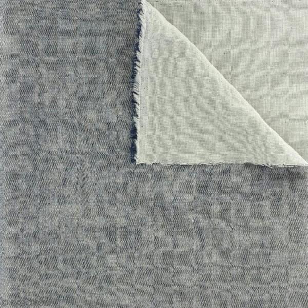 Tissu double gaze Chambray - Bleu foncé - Par 10 cm (sur mesure) - Photo n°1