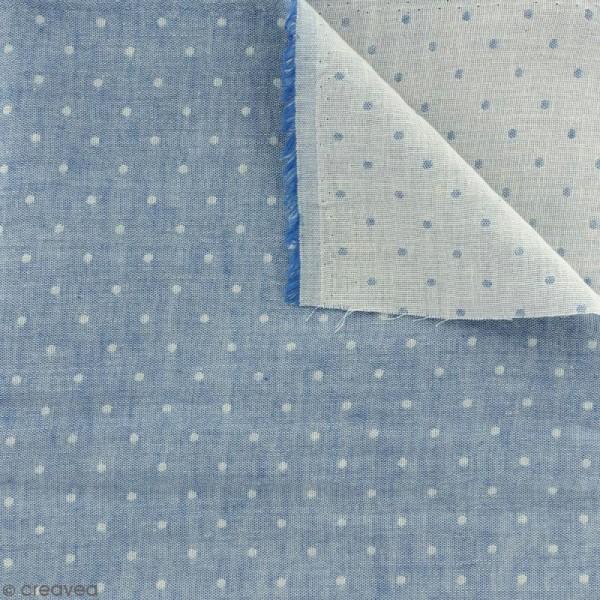 Tissu double gaze Chambray - Pois bleus - Par 10 cm (sur mesure) - Photo n°1