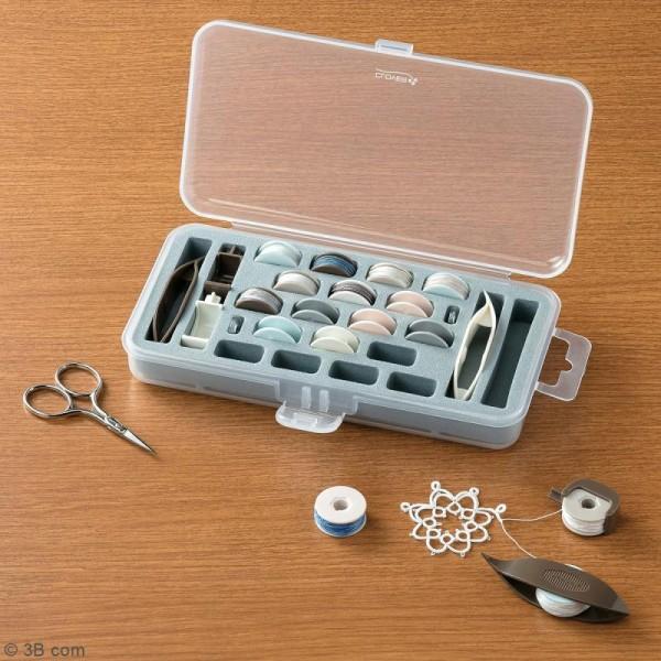 Boîte de rangement pour navette à dentelle et bobines - 24 emplacements - Photo n°3