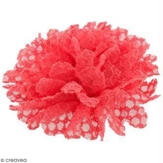 Fleur dentelle à coudre - Rose fuchsia - 10 cm de diamètre