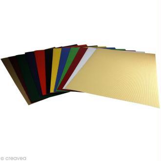 Carton ondulé 50 x 35 cm - Assortiment couleur x 12
