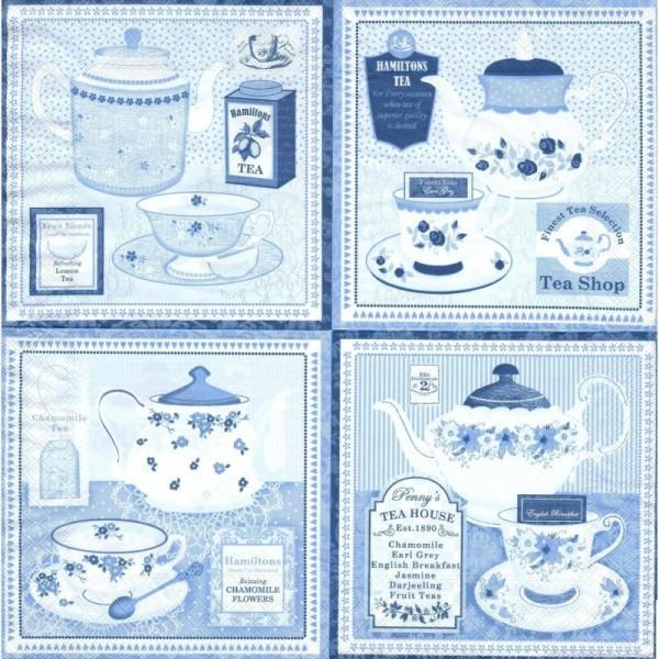 4 Serviettes en papier Cuisine Thé Theière Tasse Format Cocktail - Photo n°2