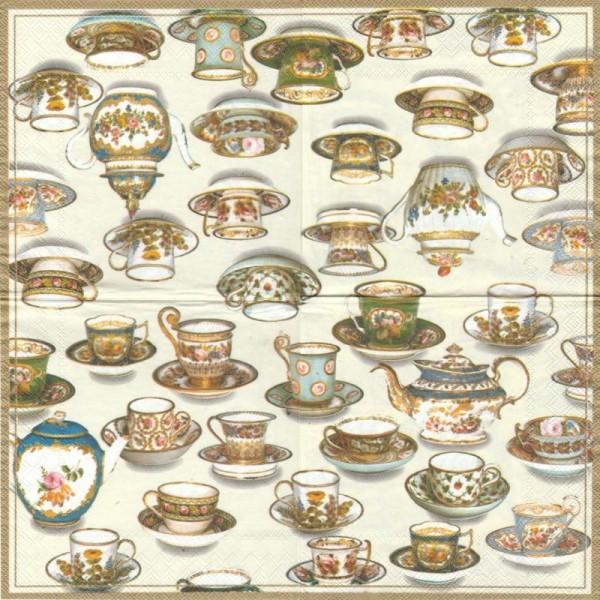 4 Serviettes en papier Thé Tasses en porcelaine Format Lunch - Photo n°1