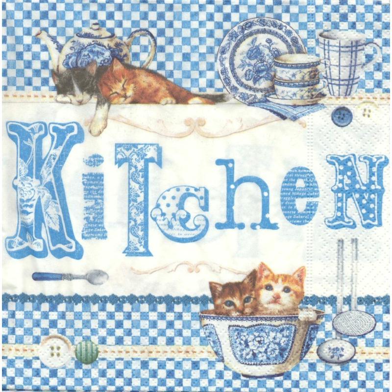 4 serviettes en papier cuisine bonjour chocolat format for Agencement cuisine en l