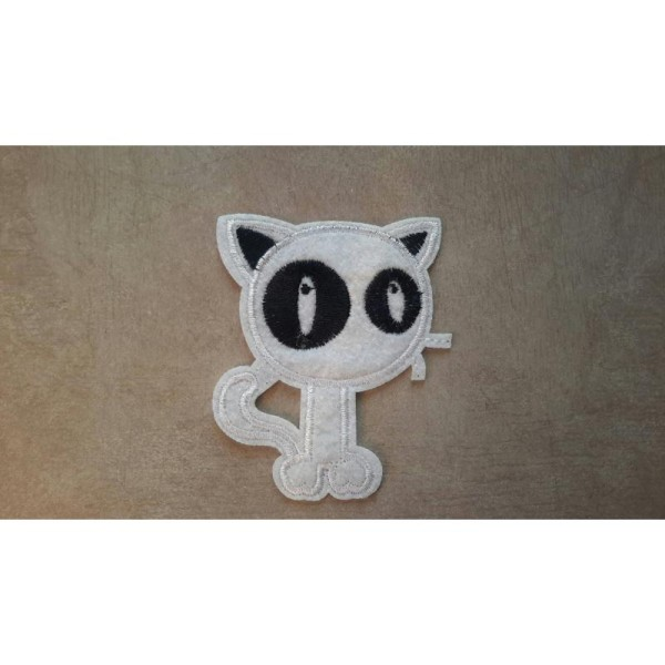 chat blanc broder et thermocollant patch 9cm