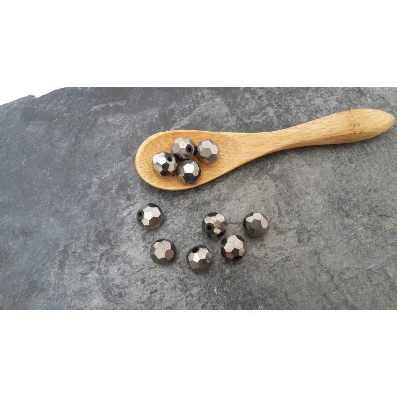 perles facettes perles en verre perles rondes couleur marron dor m talis perles en. Black Bedroom Furniture Sets. Home Design Ideas