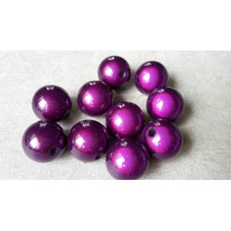 Perles magique, Perles miracle 3D, Perles intercalaires rondes, Violet, 12 mm, 5 pcs