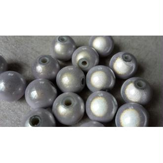 Perles magique miracle 3D, Perles intercalaires rondes, gris perle blanc, 10 mm, 10 pcs
