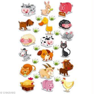 Sticker fantaisie Animaux de la ferme x 28 - 1 planche 7,5 x 12 cm