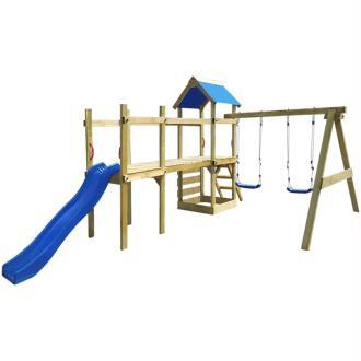 vidaXL Aire de jeu, échelle, toboggan, balançoires Bois 463x275x243 cm