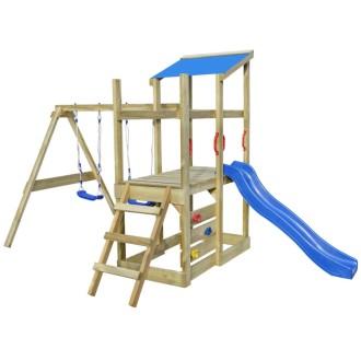 vidaXL Aire de jeu, échelle, toboggan, balançoires Bois 400x226x235 cm