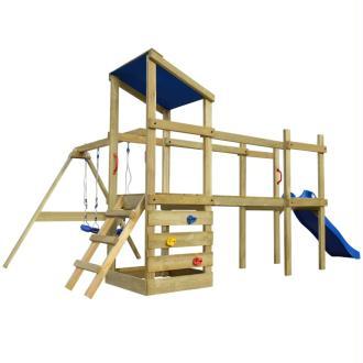 vidaXL Aire de jeu, échelle, toboggan, balançoires Bois 463x275x235 cm