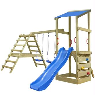 vidaXL Aire de jeu, échelles, toboggan, balançoires Bois 356x255x235cm